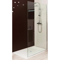 PAROI ITALIENNE VERRE TRANSPARENT EP. 8 MM PROFILE CHROME L 80 CM